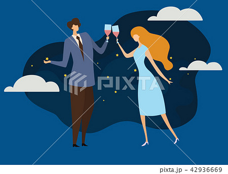 Young passionate couple drinking wine in cafe. 42936669
