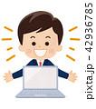 ノートパソコン ビジネス ビジネスマンのイラスト 42936785
