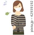 マスク 女性 風邪のイラスト 42939192