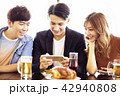 friends watching the smartphone at restaurant 42940808