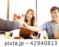 happy young friends drinking wine in  restaurant. 42940813