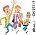 家族 笑顔 三世代家族のイラスト 42945346