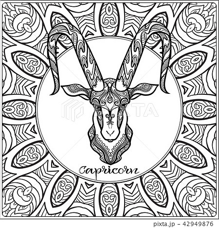 Decorative zodiac sign on pattern background. 42949876