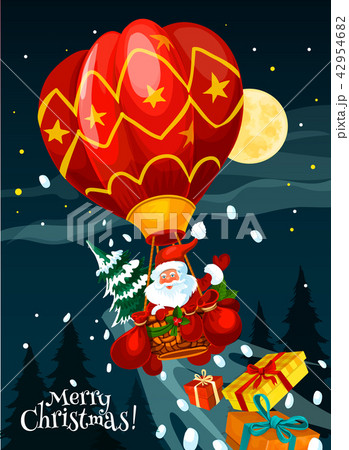 Christmas card of Santa with gift in air balloon 42954682