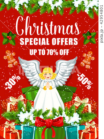 christmas sale poster with xmas gift and presentのイラスト素材