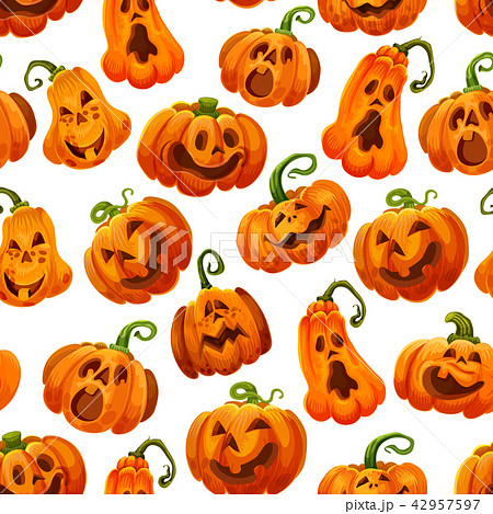 Halloween pumpkin monster lantern seamless pattern 42957597