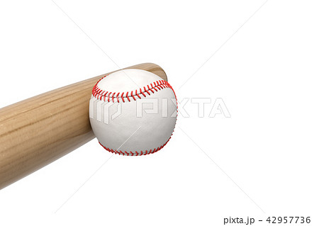 3d rendering of a white baseball with red stitching being pushed or leaning on a wooden bat on white 42957736