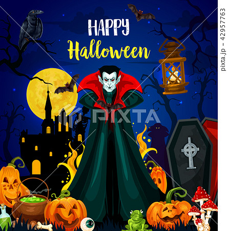 Happy Halloween greeting card with vampire monster 42957763