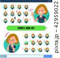 女性 アイコン 表情のイラスト 42959022