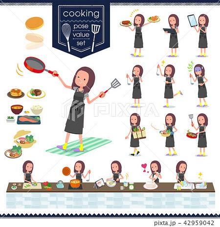 flat type Long hair women_cooking 42959042