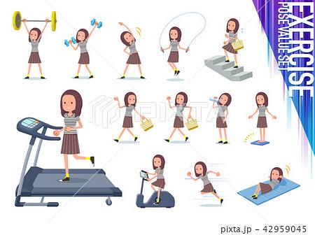 flat type Long hair women_exercise 42959045