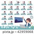 女性 デスクワーク 仕事のイラスト 42959068