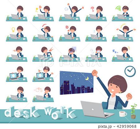 flat type Mash hair women_desk work 42959068