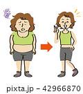 フィットネスウェアを着た中年女性のダイエット経過 42966870