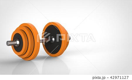ダンベル オレンジ 右コピースペース 42971127