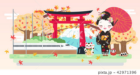 cartoon geisha with travel japanのイラスト素材 42971396 pixta