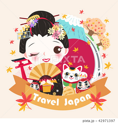 cartoon geisha with travel japanのイラスト素材 42971397 pixta