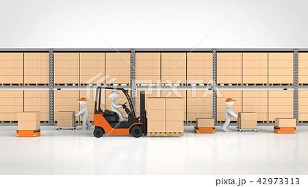 物流倉庫で働く人と物流ロボット 正面 42973313