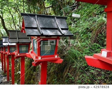 日本 京都 赤い灯籠 貴船神社 Japan Kyoto Red Lantern Basket Kib 42978928