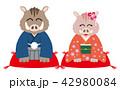 亥 和装 着物のイラスト 42980084