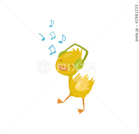 Cute little yellow duckling character listening music in headphones vector Illustration on a white 42981233