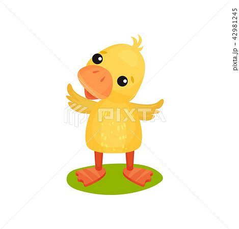 Cute little yellow duckling character standing on the grass vector Illustration on a white 42981245