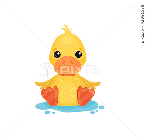 Cute little yellow duckling character sitting in a puddle vector Illustration on a white background 42981528