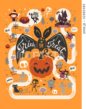 happy halloween flyer template in a flat style with festive map