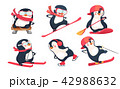 Active penguins in winter and summer set 42988632