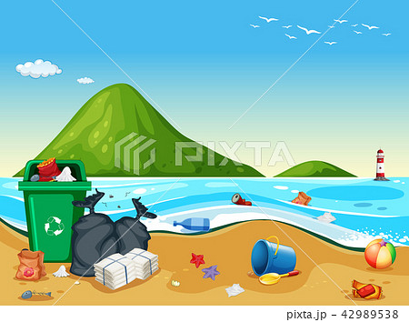 Dirty pollited beach scene 42989538