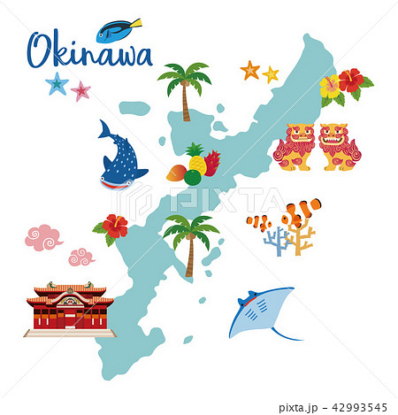 沖縄地図 観光マップのイラスト素材 42993545 Pixta