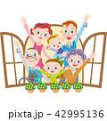 窓 三世代家族 ベクターのイラスト 42995136