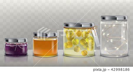 Glass jars with food and garland set 42998186