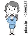 女性 OL 会社員 バリエーション ひらめく 人差し指をさす 42999382