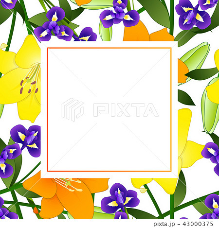 Yellow Orange Lily And Blue Iris Flower Bannerのイラスト素材