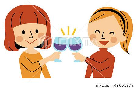 お酒を飲む女性二人 43001875