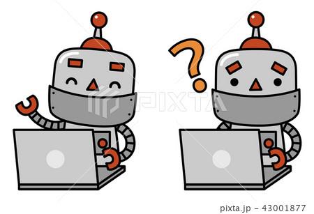 パソコンをするロボット 43001877