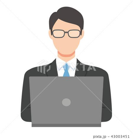 PCと男性(スーツ、眼鏡) 43003451