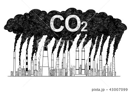 Vector Artistic Drawing Illustration of Smoking Smokestacks, Concept of Industry or Factory CO2 Air 43007099