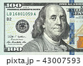One hundred dollars bill close up detailed 43007593