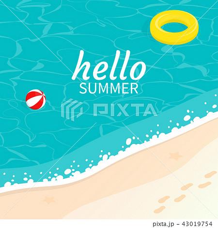 hello summer isometric sea sand beach wave vector 43019754