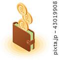 お金 通貨 金のイラスト 43019908