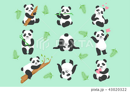 Cute Panda Character In Different Situations Set 43020322
