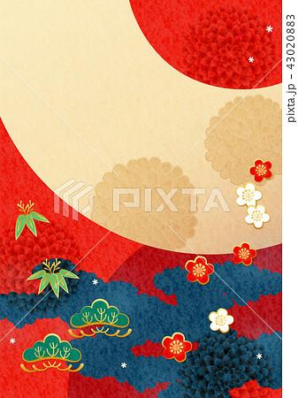 和柄背景-松竹梅,扇(テクスチャ) 43020883