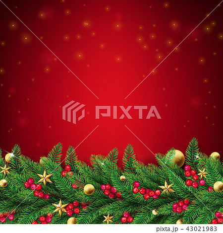 Christmas red background with fir branches 43021983