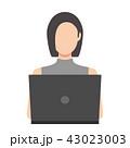 女性 ノートパソコン インターネットのイラスト 43023003