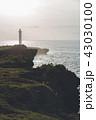 残波岬 海 夕方の写真 43030100