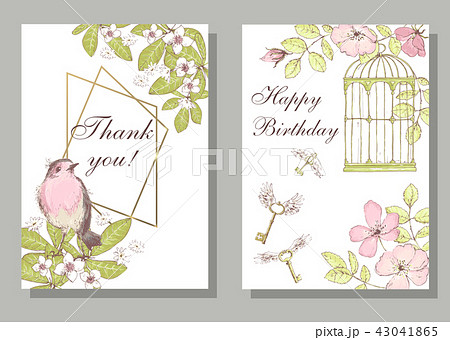 Set of card with wiid rose, robin bird, cage, keys, leaves and g 43041865