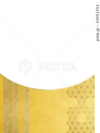 麻の葉 ライン 金(背景素材)透過 43052453