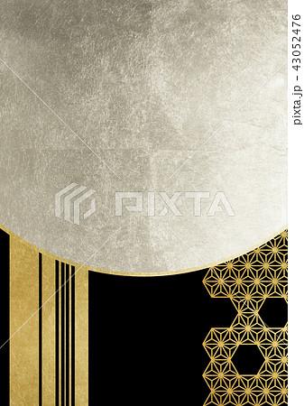 麻の葉 ライン 金銀黒(背景素材) 43052476